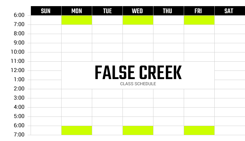 Survivor Bootcamp False Creek Weekly Schedule
