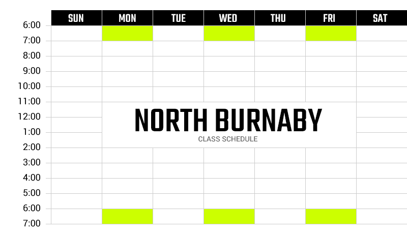 Survivor Bootcamp North Burnaby Weekly Schedule
